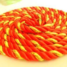 夹金丝涤纶三股手提绳 打头扭绳 喜糖盒蛋糕装饰礼品袋专用手挽绳