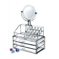 化妆品收纳盒 组合抽屉式整理柜带镜子简约梳妆台口红收纳置物架