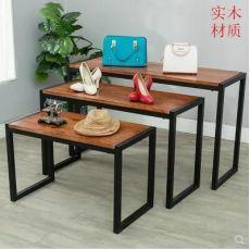 服装展示架铁艺服装店流水台中岛展示桌实木高低桌子包包架展示台