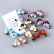 创意猫耳发夹 儿童小球球亮片猫耳朵头饰发饰卖萌发卡