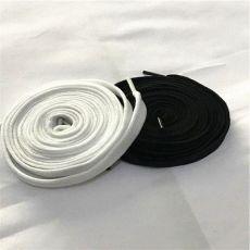 齐发娱乐_40锭 涤纶低弹丝扁平空心双层鞋带 黑色白色鞋带 130cm