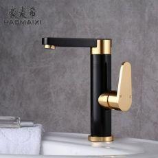 黑色太空铝厨房水龙头 浴室混水阀面盆洗手盆冷热水龙头