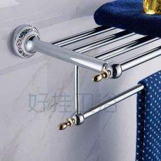 浴巾架 不锈钢双层毛巾架 活动浴巾架 免打孔浴巾架