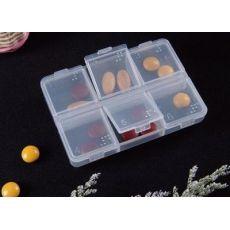 塑料药盒 6格药盒 保健户外旅行便携药盒 随身小药盒
