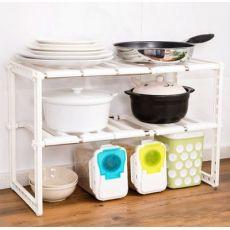 浴室厨房三层隔板可伸缩调节下水槽置物架书房置物架鞋架