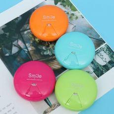 便捷式圆形旋转药盒随身塑料药品收纳盒塑料盒