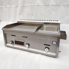 商用电台式扒炉连炸炉铁板烧油炸锅商用手抓饼机器电炸炉一体机
