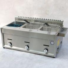 燃气商用扒炉带炸锅 不锈钢速热铁板烧台式平板扒炉 炸鸡电油炸锅